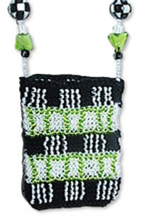 Beaded Knit Amulet Purse Pattern - Two-Toned Stripes