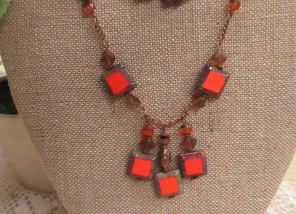 Orange Square Necklace & Earring Set