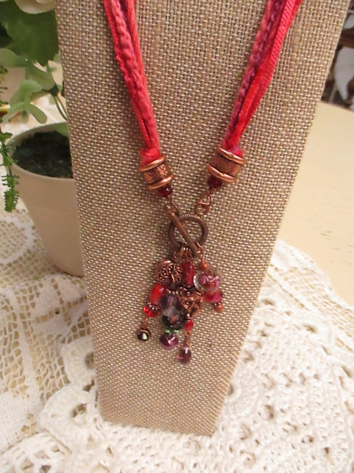 Red/Pink Fiber, Bead & Charm Necklace