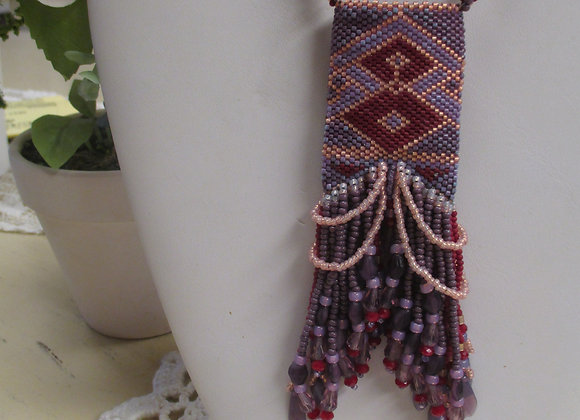Red & Purple Beaded Pouch Necklace