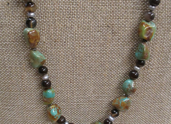 Natural Turquoise and Smokey Quartz Necklace
