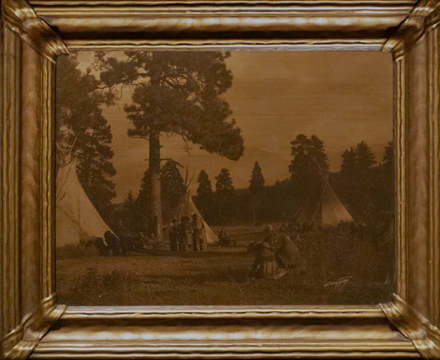 """Varant ranch frame with the image """"Flathead Camp on the Jocko River"""""""