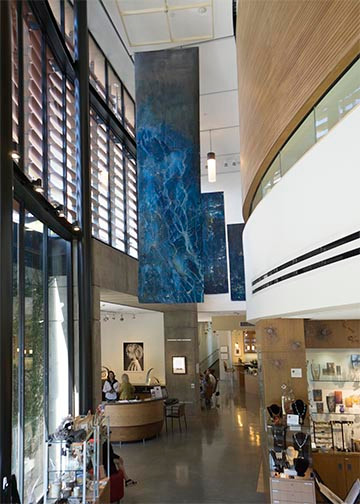 Meghann Riepenhoff's prints also dominate the interior hallways.