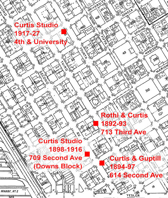 Locations of the various Curtis studios in Seattle.
