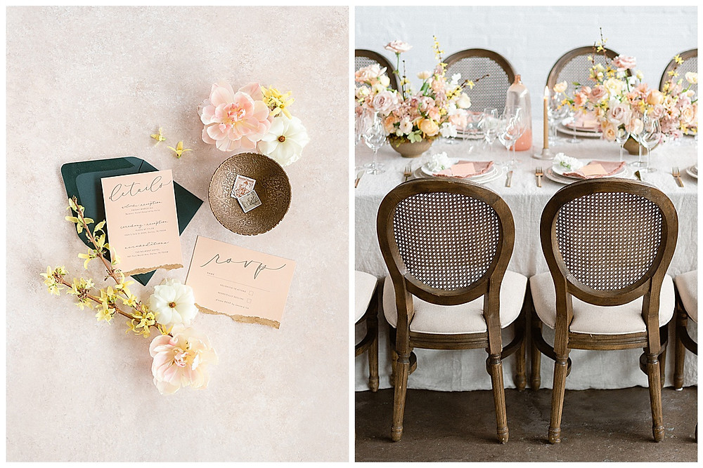 film photography dallas wedding, table setting with yellow, peach, pink flowers, pink napkin, gold silverware, dallas wedding photographer, beatbox portraits, yellow candle sticks, brown chairs, green envelope, The Place At Tyler, Dallas Texas , dallas wedding photography