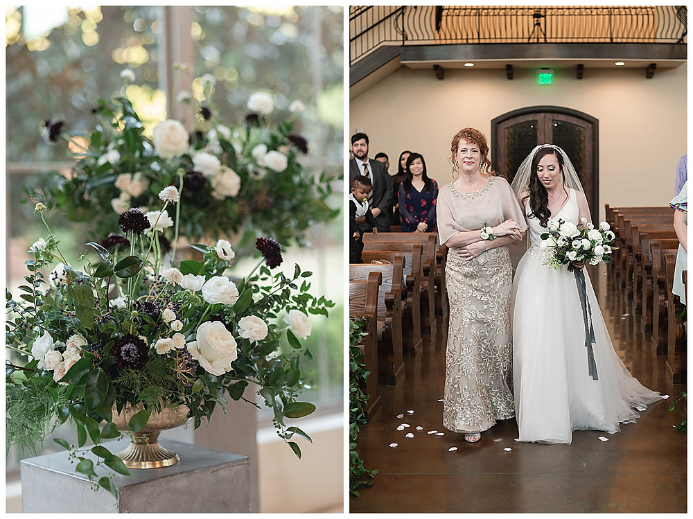Chapel Ana Villa, The colony Texas, dallas wedding, dallas wedding photography, dallas wedding venue , concrete pillars with white roses and flower arrangements for ceremony, bride walking down aisle