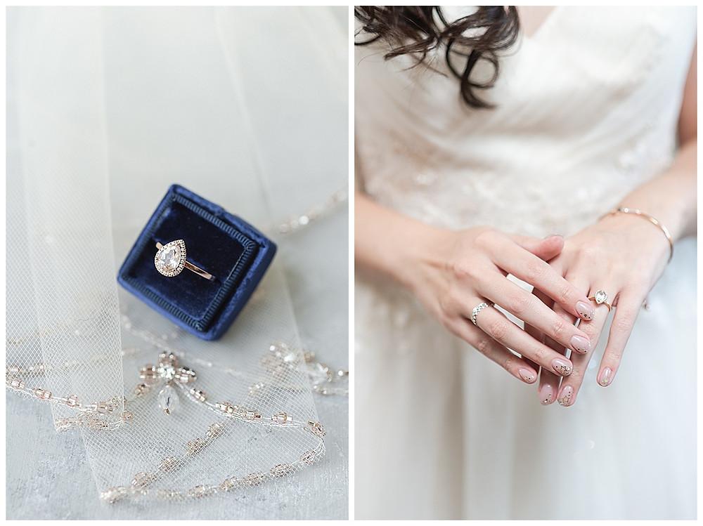 Chapel Ana Villa, The colony Texas, dallas wedding, dallas wedding photography, dallas wedding venue, brides wedding ring in blue velvet ring box