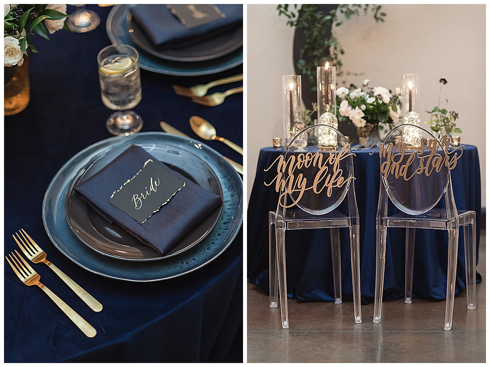 Chapel Ana Villa, The colony Texas, dallas wedding, dallas wedding photography, dallas wedding venue ,  blue velvet table linen, fire lights, love you to the moon signage, moon greenery install, sweet heart table , gold flatware, blue ceramic plates