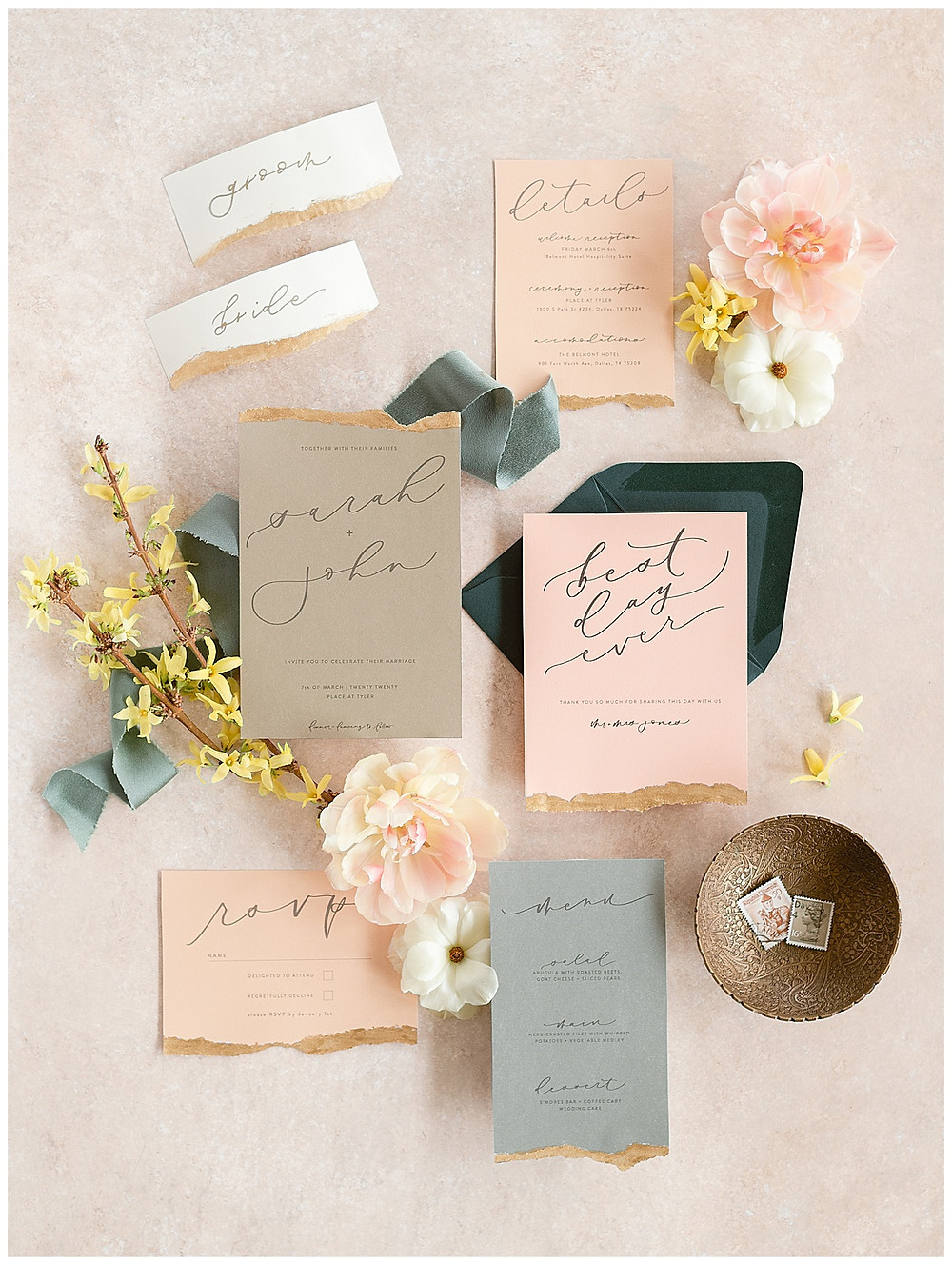 Styled flat lay of a wedding invitation suite, Dallas Wedding photographer, BeatBox Portraits styled this peach, whilte, green, yellow, pink wedding invitation with flowers and envelopes, The Place At Tyler, Dallas Texas , dallas wedding photography