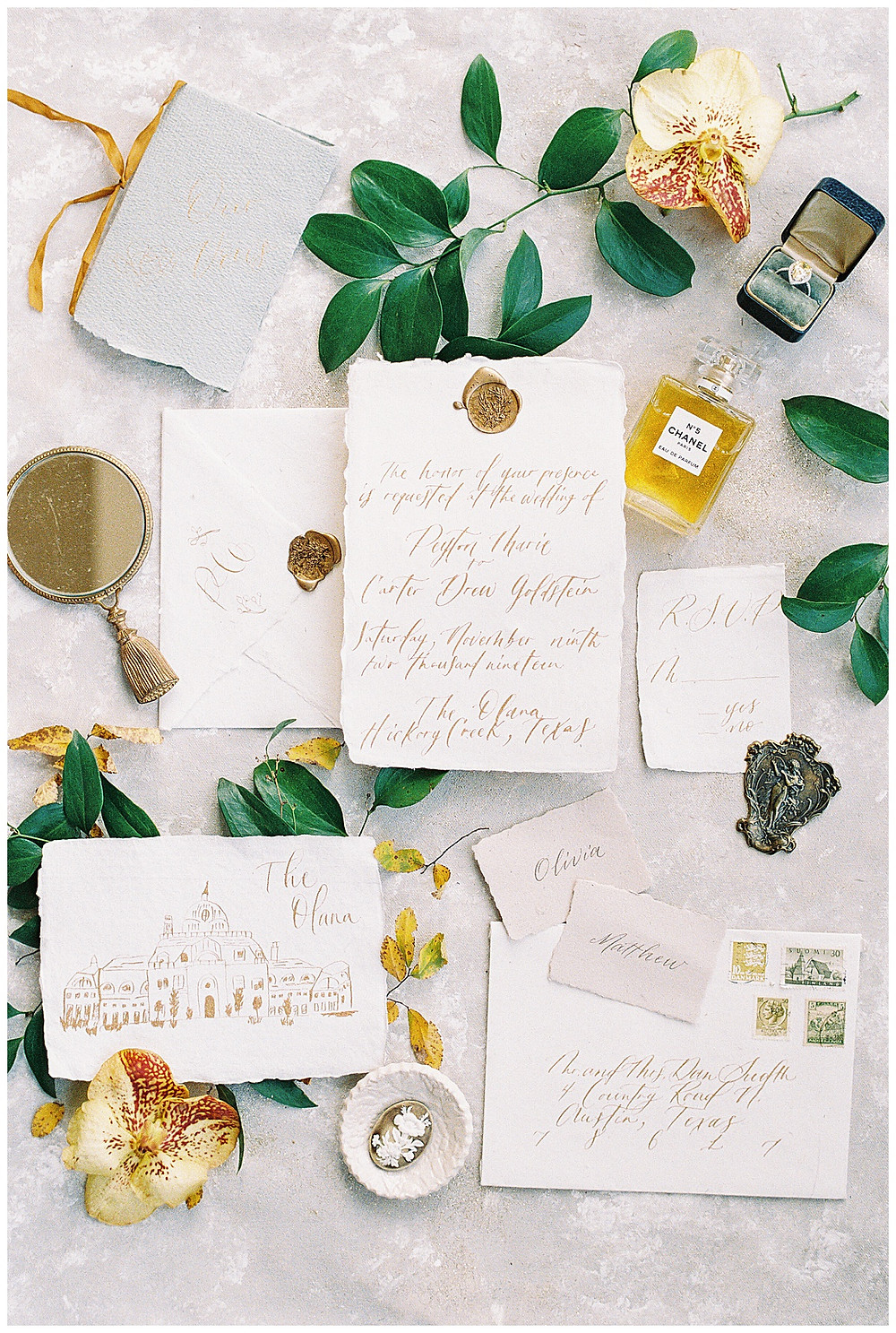 dallas wedding photography, The olana hickory creek texas, yellow green, white wedding, summer/spring wedding. film photography, deckled edge wedding invitation on handmade paper, with gold calligraphy, chanel perfume, grey vow book and gold ribbon , wax seal