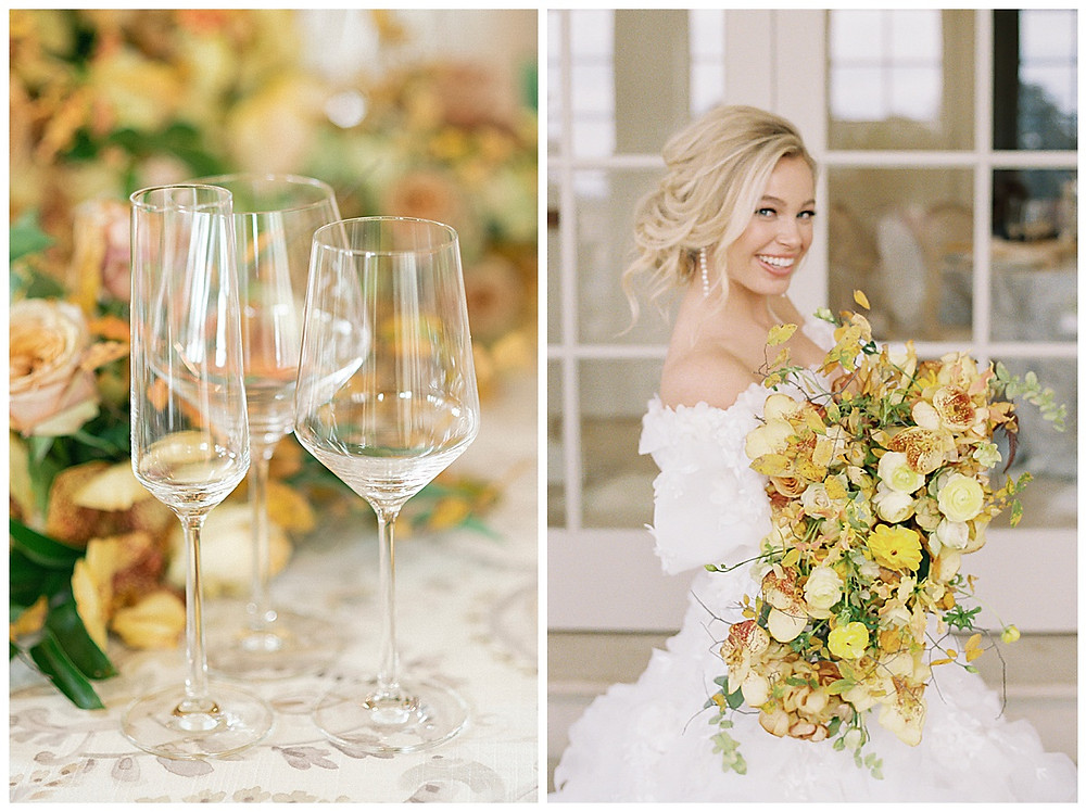 dallas wedding photography, The olana hickory creek texas, yellow green, white wedding, summer/spring wedding. film photography, tables cape for ten, white plates, yellow menus, yellow arrangement  clear stemware , marigold dallas wedding photography, bridal portrait, natural makeup, messy hair updo , pearl earrings