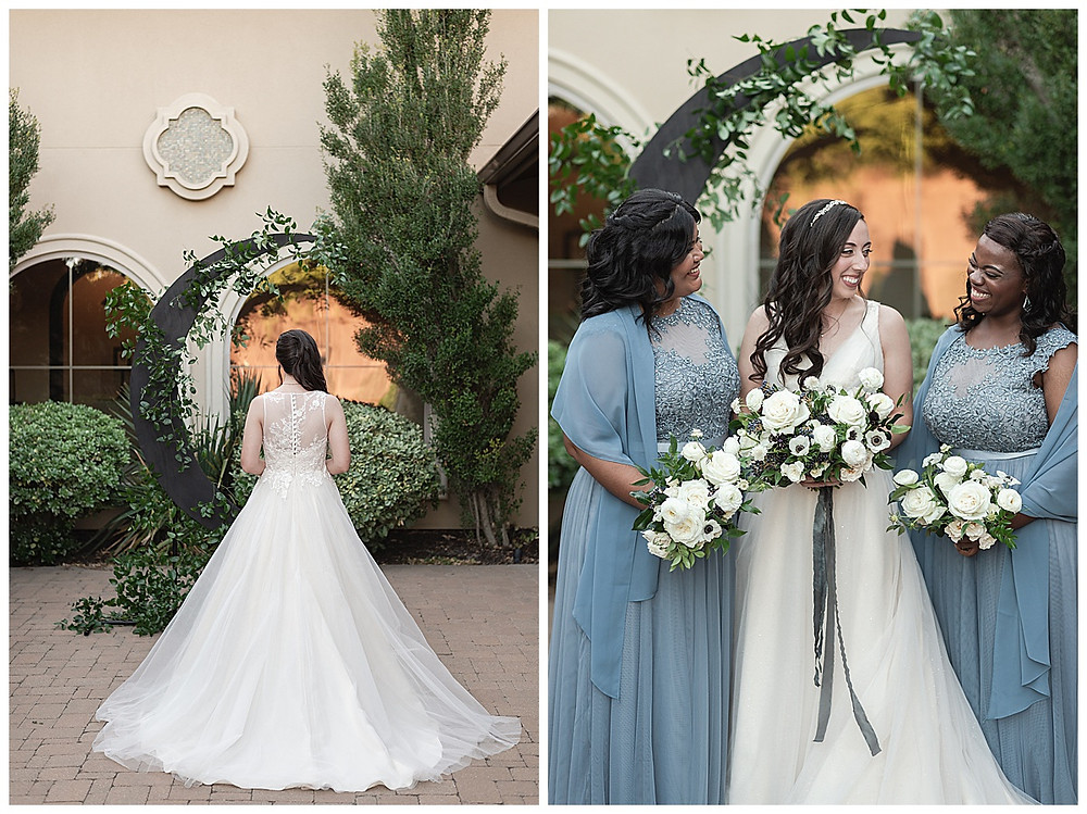 Chapel Ana Villa, The colony Texas, dallas wedding, dallas wedding photography, dallas wedding venue , wedding party formal, blue bridesmaids dresses, with blue shawls white flower bouquets