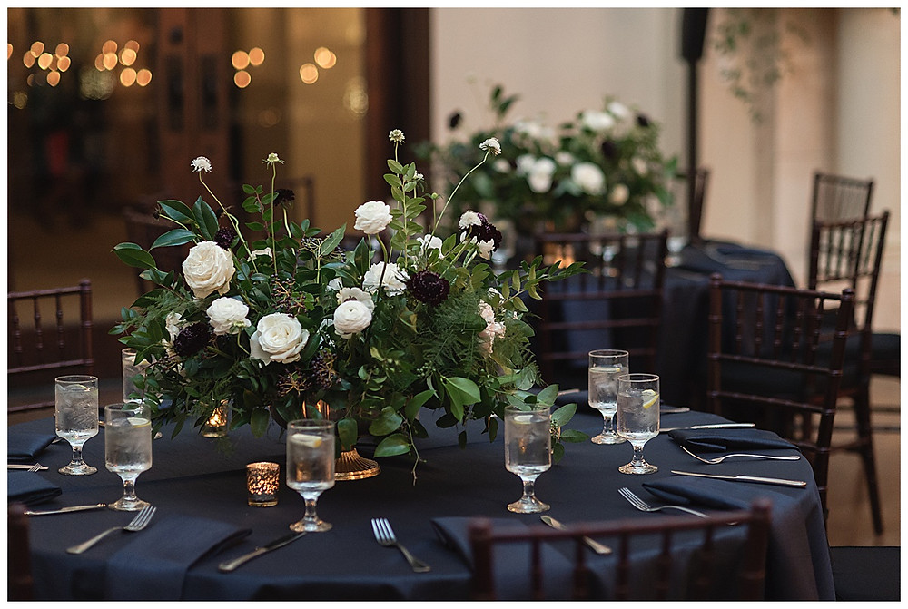 Chapel Ana Villa, The colony Texas, dallas wedding, dallas wedding photography, dallas wedding venue ,  blue velvet table linen, fire lights, love you to the moon signage, moon greenery install, sweet heart table