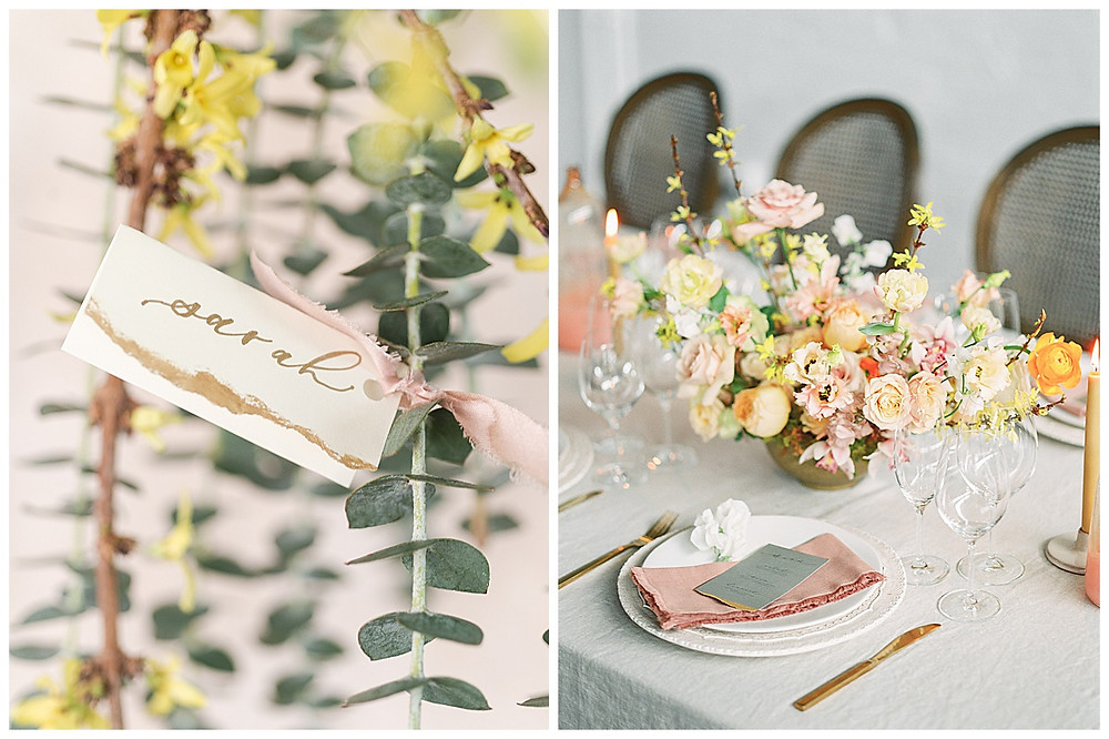 film photography , dallas wedding, table setting with yellow, peach, pink flowers, pink napkin, gold silverware, dallas wedding photographer, beatbox portraits, brown chairs  eucalyptus, The Place At Tyler, Dallas Texas , dallas wedding photography