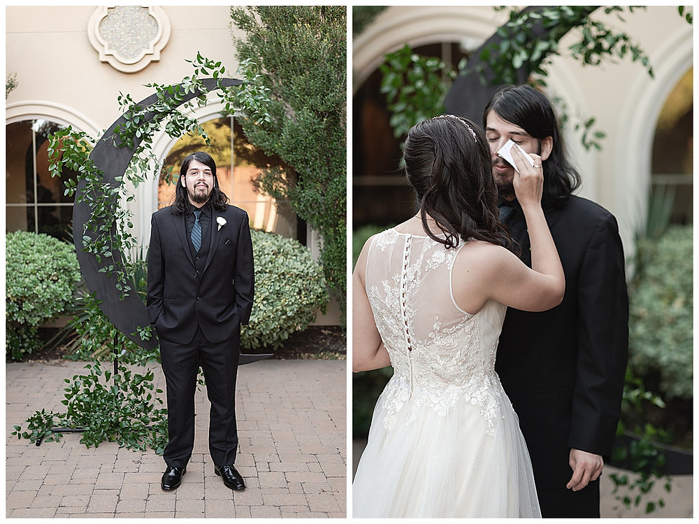 Chapel Ana Villa, The colony Texas, dallas wedding, dallas wedding photography, dallas wedding venue bride and groom first look groom crying bride wiping tears