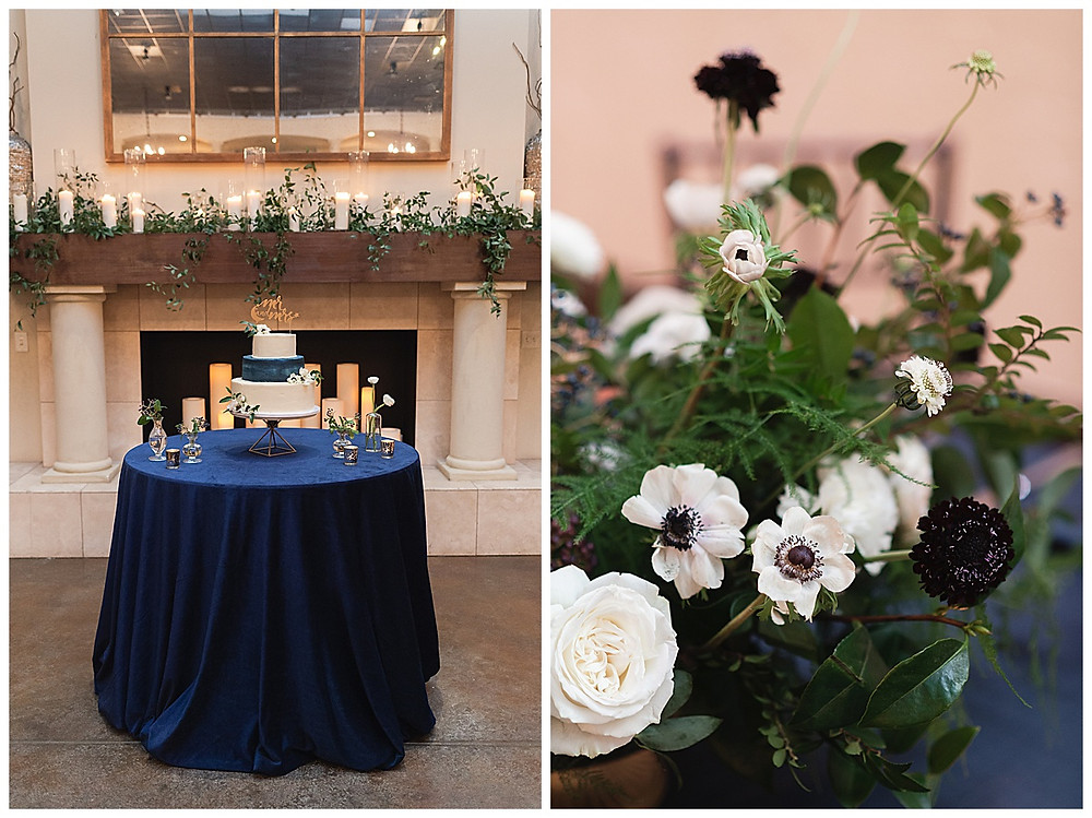Chapel Ana Villa, The colony Texas, dallas wedding, dallas wedding photography, dallas wedding venue ,  blue velvet table linen, cake table, three tier white, blue wedding cake, geo cake stand