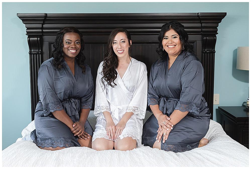 Chapel Ana Villa, The colony Texas, dallas wedding, dallas wedding photography, dallas wedding venue, bride in robe with bridesmaids, blue robes