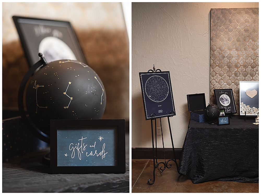 Chapel Ana Villa, The colony Texas, dallas wedding, dallas wedding photography, dallas wedding venue ,  blue velvet table linen, fire lights, love you to the moon signage, moon greenery install, sweet heart table , black globe with gold constellations, star map with coordinates, guest table,