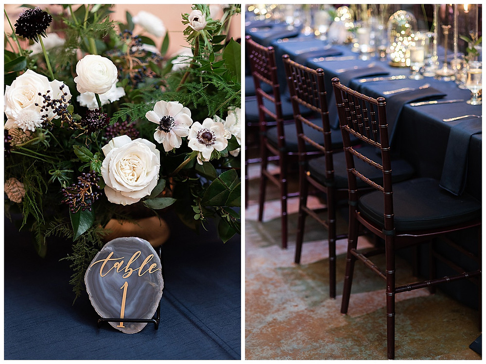 Chapel Ana Villa, The colony Texas, dallas wedding, dallas wedding photography, dallas wedding venue ,  blue velvet table linen, fire lights, love you to the moon signage, moon greenery install, sweet heart table , geo table numbers, with gold calligraphy table 1
