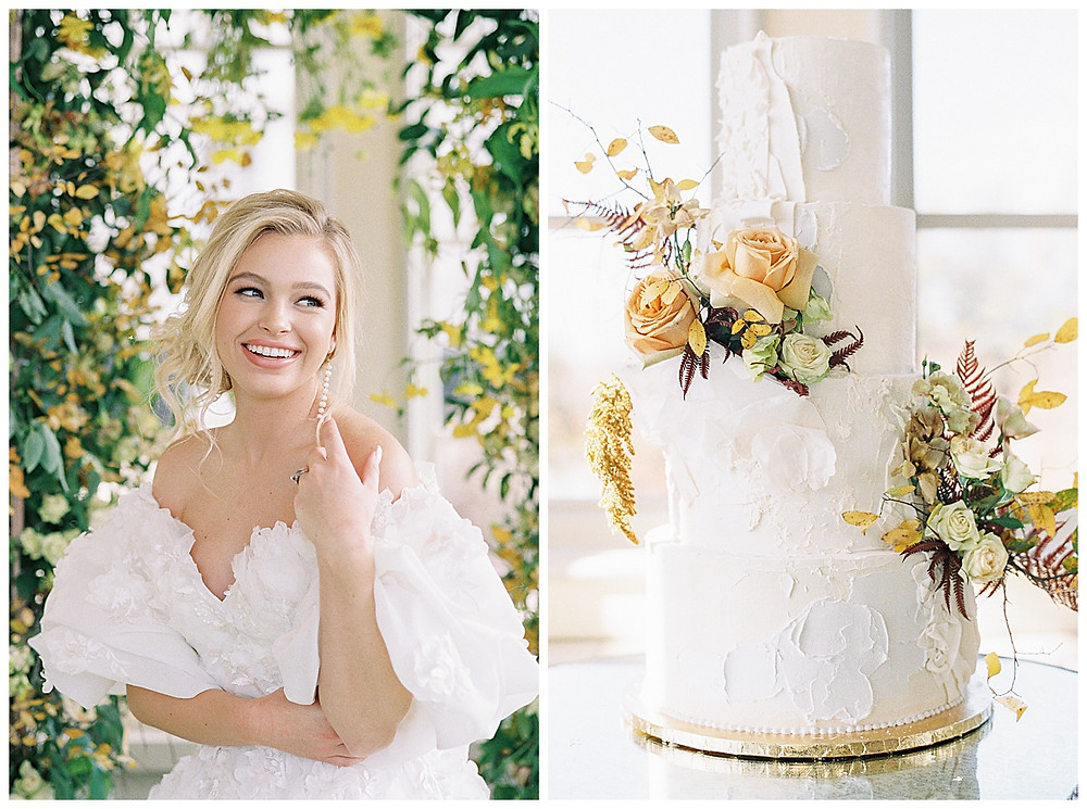 dallas wedding photography, The olana hickory creek texas, yellow green, white wedding, summer/spring wedding. film photography, bridal portrait, bridal photography, wedding dress off the shoulder, natural makeup, messy hair updo , four tier white wedding cake with flowers