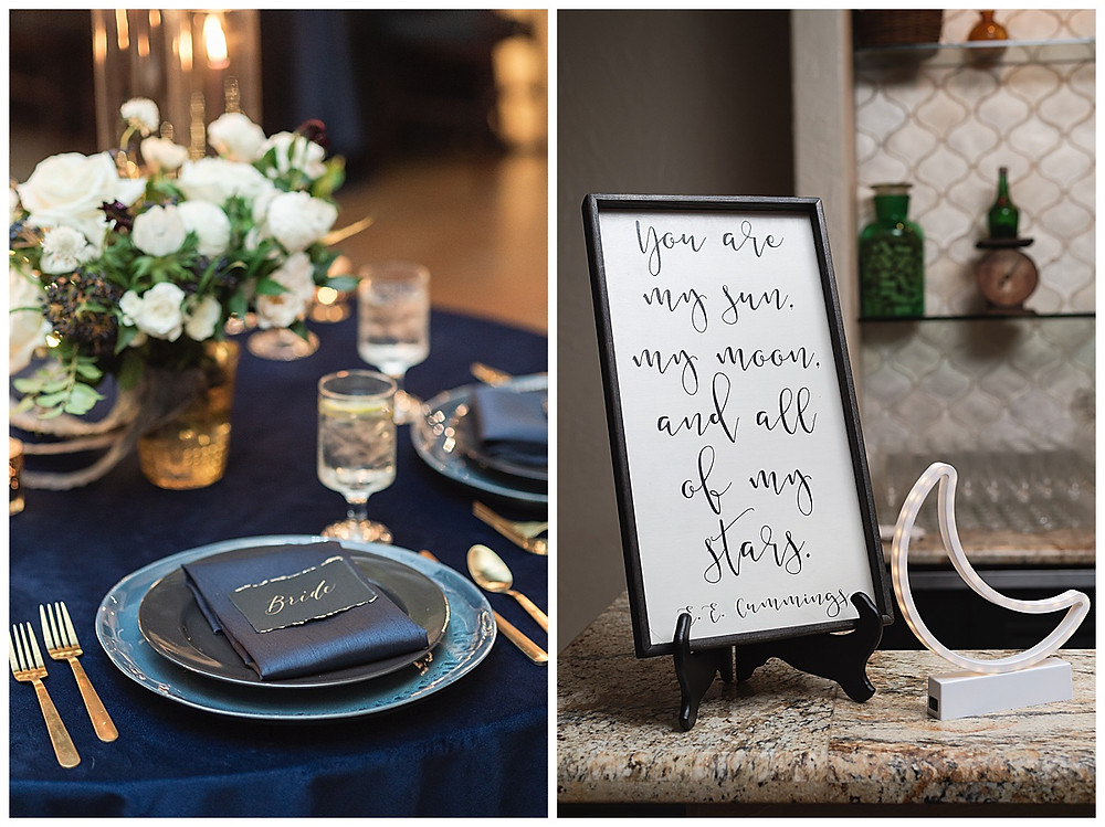 Chapel Ana Villa, The colony Texas, dallas wedding, dallas wedding photography, dallas wedding venue ,  blue velvet table linen, fire lights, love you to the moon signage, moon greenery install, sweet heart table , black globe with gold constellations, star map with coordinates, guest table, , bar sign