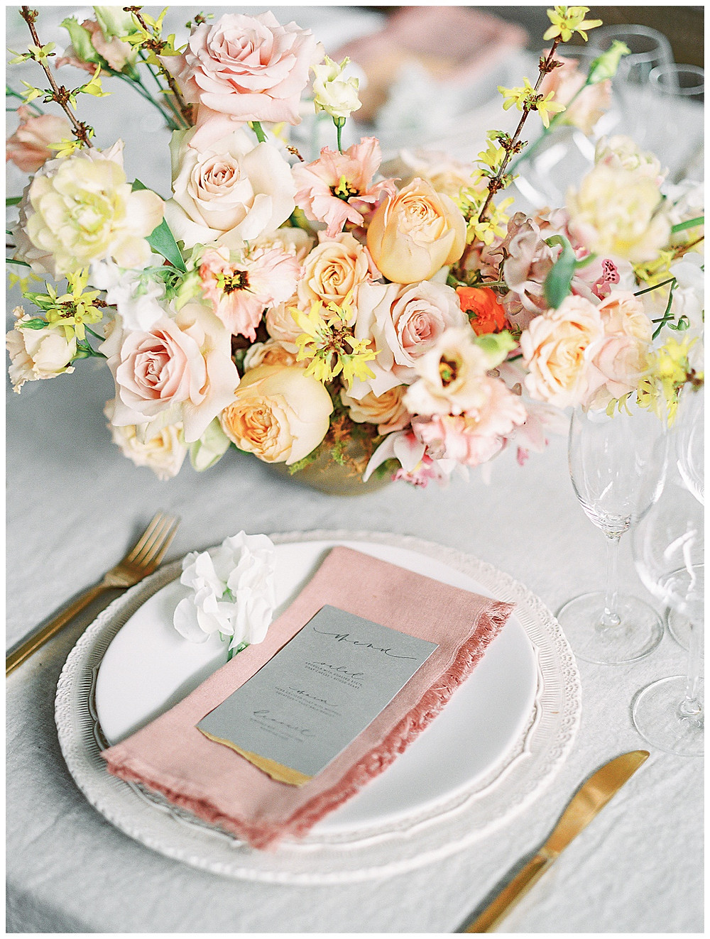 film photography dallas wedding, table setting with yellow, peach, pink flowers, pink napkin, gold silverware, dallas wedding photographer, beatbox portraits, The Place At Tyler, Dallas Texas , dallas wedding photography