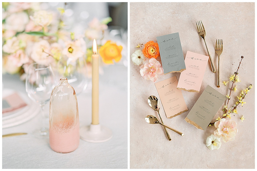 dallas wedding, table with yellow, pink, orange,  flowers, styled menus with flowers and gold silverware  dallas wedding photographer, beatbox portraits, film photography, The Place At Tyler, Dallas Texas , dallas wedding photography