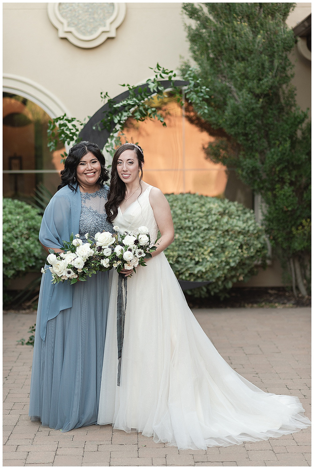 Chapel Ana Villa, The colony Texas, dallas wedding, dallas wedding photography, dallas wedding venue , wedding party formal, blue bridesmaids dresses, with blue shawls white flower bouquets , white roses and spray roses