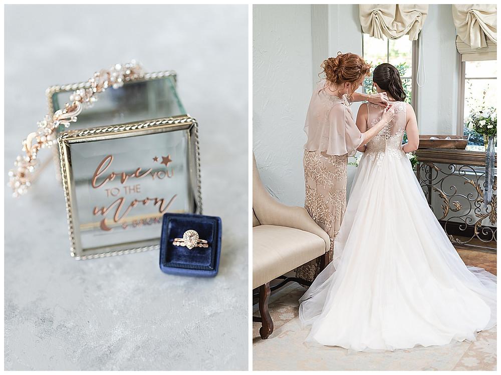 Chapel Ana Villa, The colony Texas, dallas wedding, dallas wedding photography, dallas wedding venue, mom helping bride get dress on