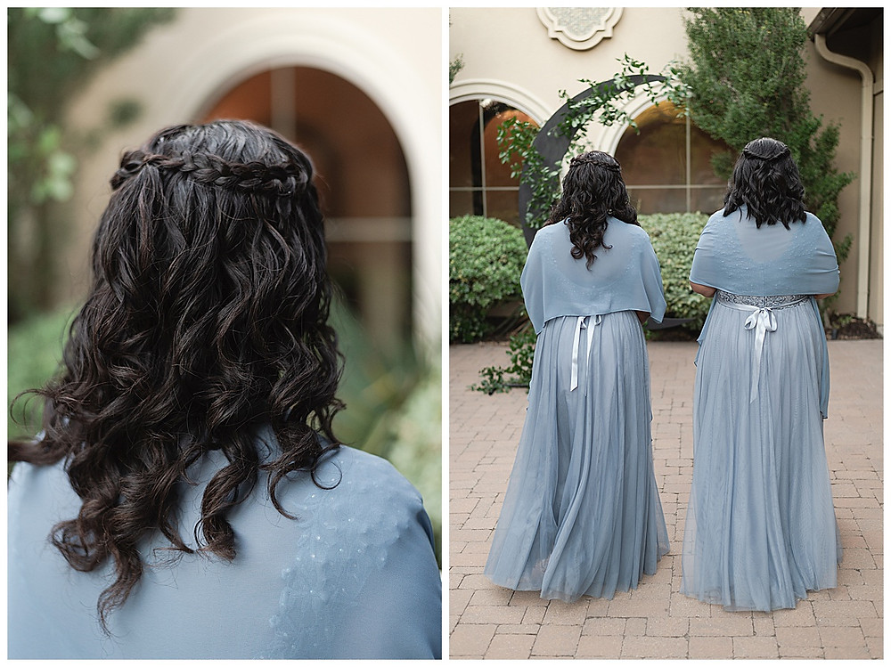 Chapel Ana Villa, The colony Texas, dallas wedding, dallas wedding photography, dallas wedding venue , wedding party formal, blue bridesmaids dresses, with blue shawls white flower bouquets , white roses and spray roses , flower girls with stars on dresses