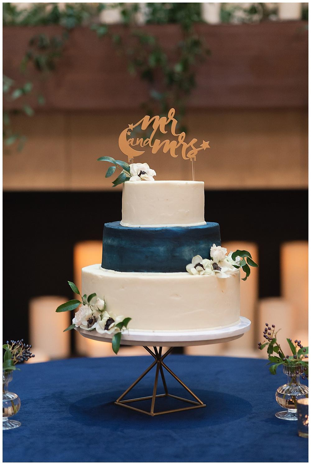 Chapel Ana Villa, The colony Texas, dallas wedding, dallas wedding photography, dallas wedding venue ,  blue velvet table linen, cake table, three tier white, blue wedding cake, geo cake stand