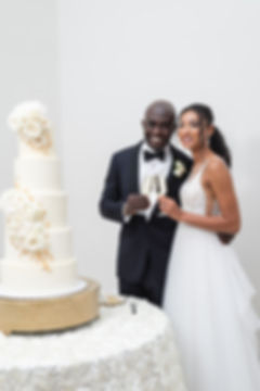 bride | groom| standing by wedding cake at knotting hill place in texa dallas wedding photographer