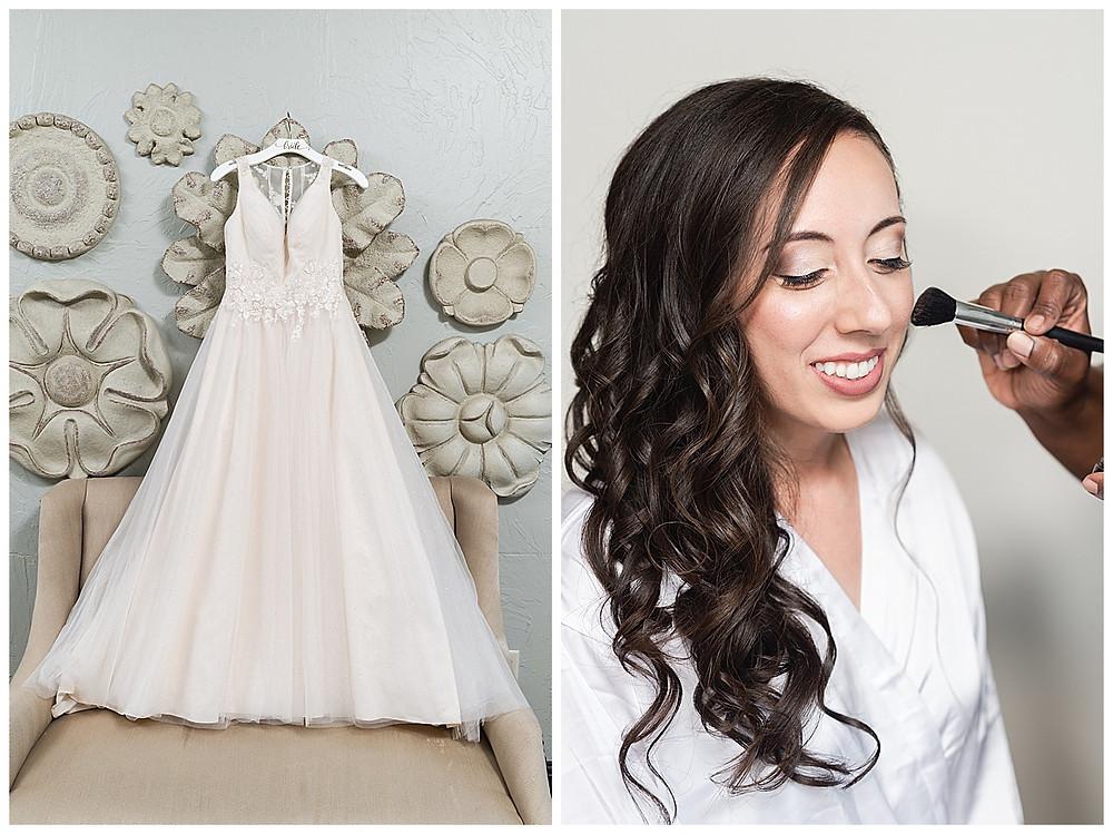 Chapel Ana Villa, The colony Texas, dallas wedding, dallas wedding photography, dallas wedding venue, bridal makeup, natural makeup, wedding dress hanging