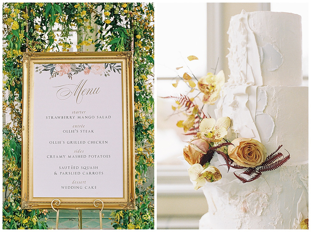 dallas wedding photography, The olana hickory creek texas, yellow green, white wedding, summer/spring wedding. film photography, four their white wedding cake with flowers, menu in gold frame