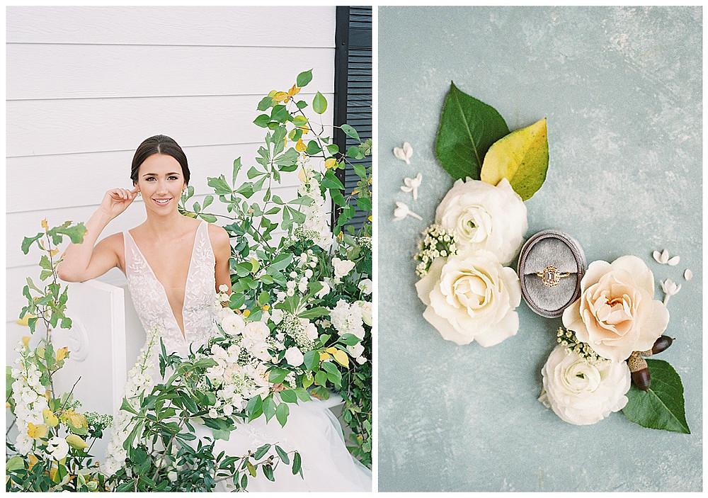 the pearl at sabine creek, dallas wedding photography, dallas wedding, spring, natural bridal makeup, texas, floral installation , wedding ring grey wedding box