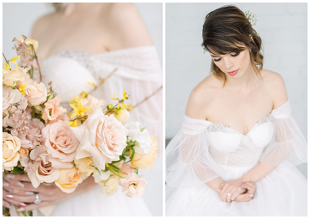 film photography , Bride Holding a pink, yellow, peach, wedding bouqet in Dallas Texas. The Place at tylerDallas, Texas. bride, Wedding dress with sleeves, bride sitting, The Place at Tyler in Dallas Texas. Flowers in hair, The Place At Tyler, Dallas Texas , dallas wedding photography