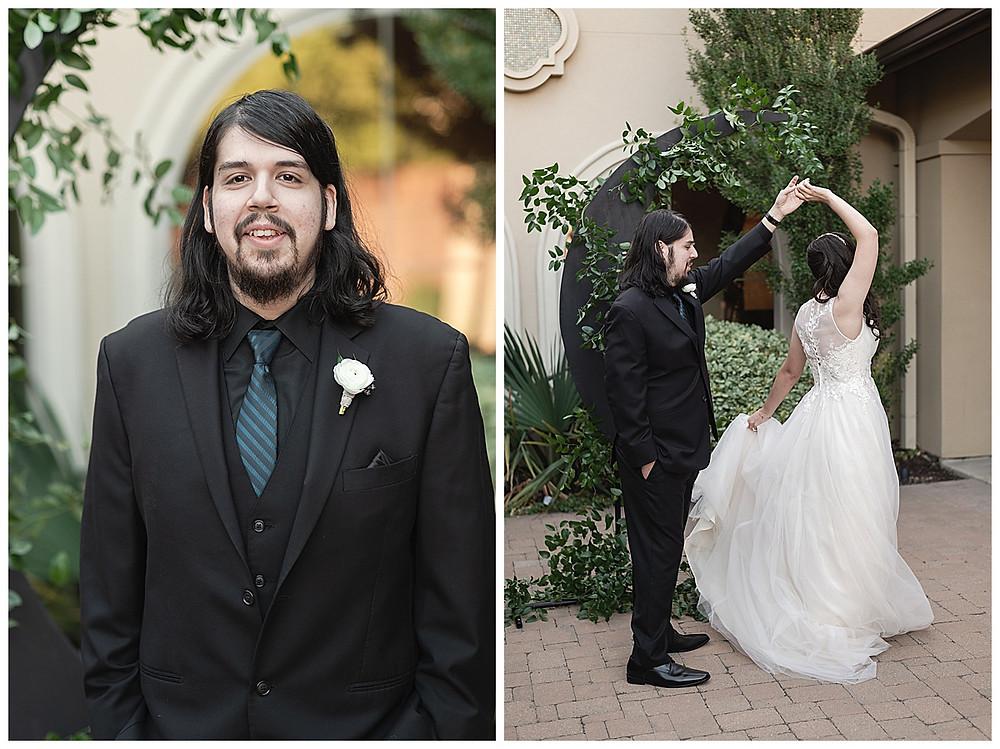 Chapel Ana Villa, The colony Texas, dallas wedding, dallas wedding photography, dallas wedding venue bride and groom first look, bride hugging