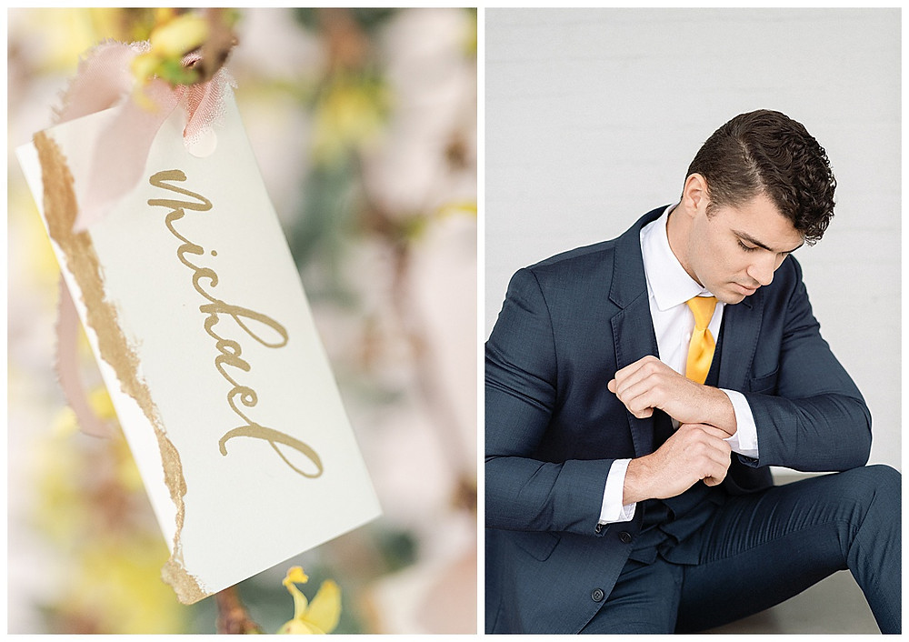 film photography , Bride Holding a pink, yellow, peach, wedding bouqet in Dallas Texas. The Place at tylerDallas, Texas. bride, Wedding dress with sleeves, bride sitting, The Place at Tyler in Dallas Texas. Flowers in hair, The Place At Tyler, Dallas Texas , dallas wedding photography, groom blue suite with yellow tie, handed seating chart
