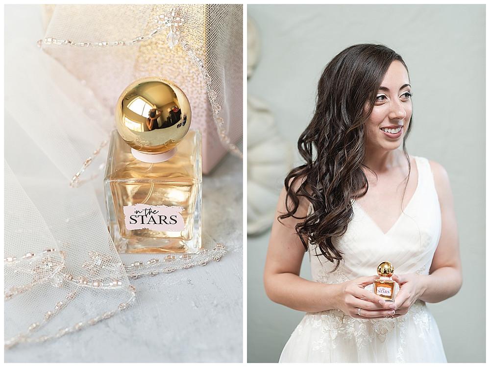 Chapel Ana Villa, The colony Texas, dallas wedding, dallas wedding photography, dallas wedding venue, bride holding perfume in the stars