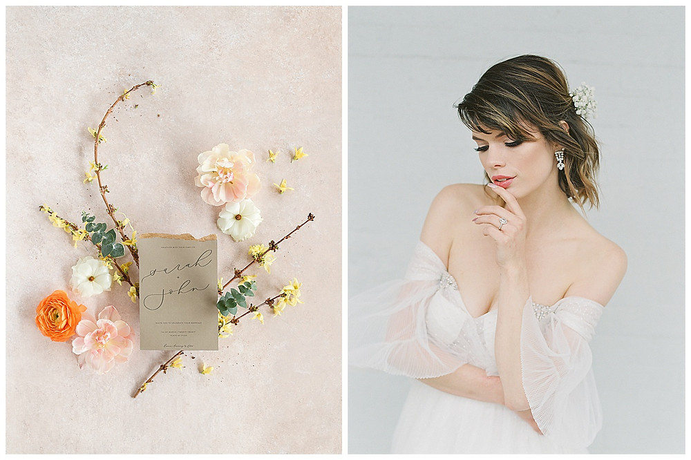 film photography Bride sitting, Bridal portrait, Dallas Texas, flowers in hair. wedding dress with sleeves, dallas wedding photographer. wedding photography , green wedding invitation suite with yellow, orange, pink flowers, The Place At Tyler, Dallas Texas , dallas wedding photography