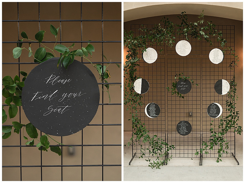 Chapel Ana Villa, The colony Texas, dallas wedding, dallas wedding photography, dallas wedding venue , moon phases seating chart, on grid with greenery