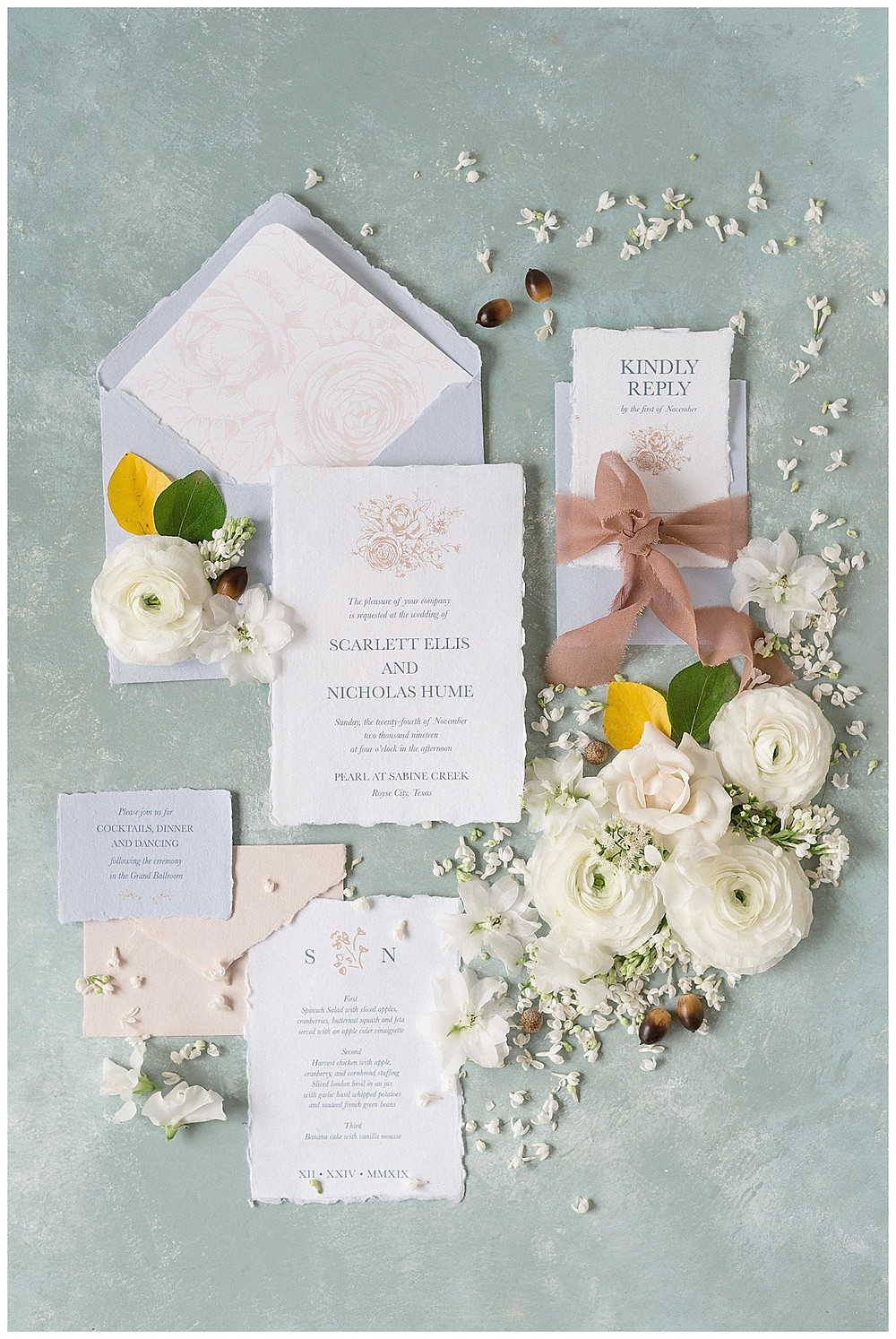 the pearl at sabine creek, dallas wedding photography, dallas wedding, spring, texas, wedding invitation suite flatlay,  styled flat lay, blue envelopes with deckled edges, mauve ribbon