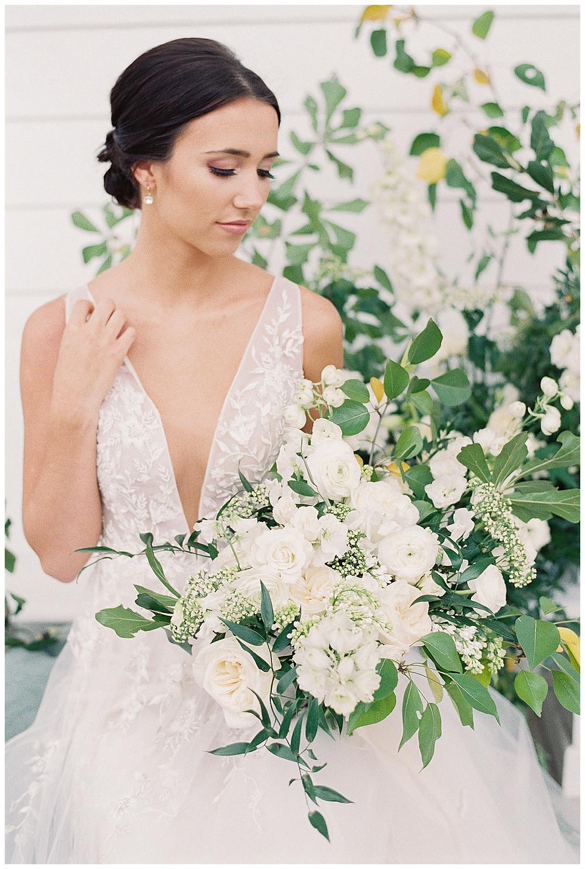 the pearl at sabine creek, dallas wedding photography, dallas wedding, spring, natural bridal makeup, texas, hair updo, bridal photography, bridal portrait, yellow, white, green bridal bouquet