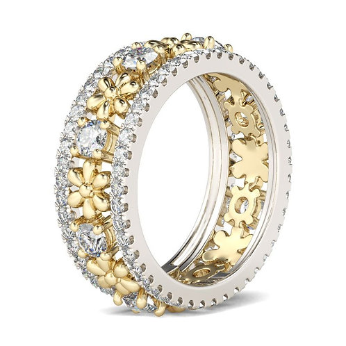 JCR 1003 Two Tone Flower Sterling Gold Women Band