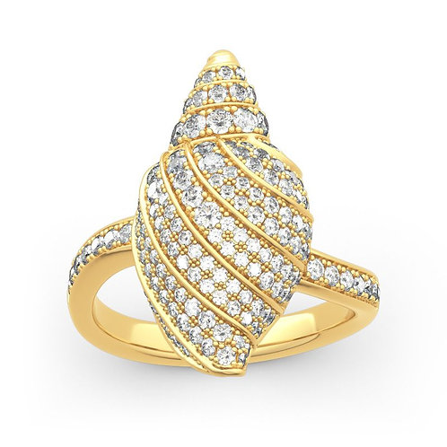 JCR 1007 Conch Shell Sterling Gold Ring