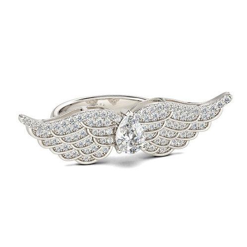 JCR 1002 Angel Wings Pear Cut Sterling Gold Ring