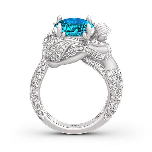 JCR 1009 Goddess of the Sea Sterling Mermaid Ring