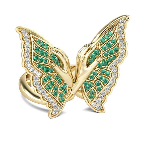 JCR 1005 Butterfly Sterling Gold Cocktail Ring