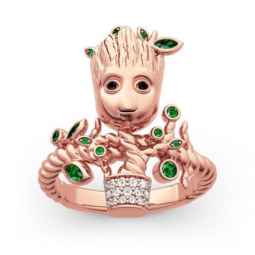 JCR 1008 Groot Tree Man Sterling Gold Ring