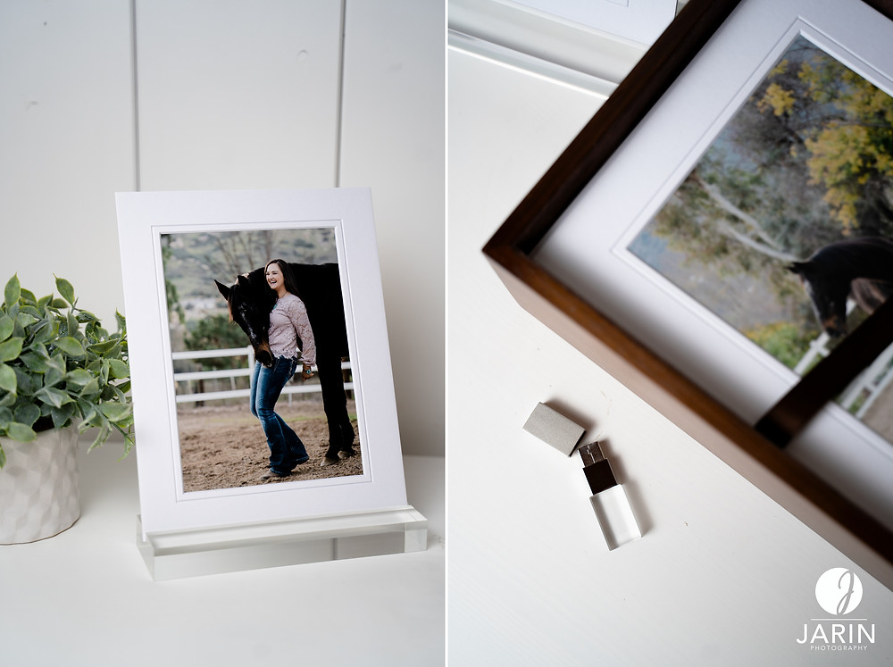 Horse and rider photo display in an acrylic photo stand.
